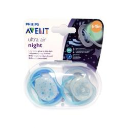 CHUPETES ULTRA-AIR SILICONA NIGHT 6-18M AZUL (2UDS)