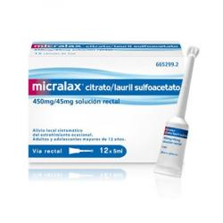MICRALAX CITRATO/LAURIL SULFOACETATO 450mg/45mg solucion rectal