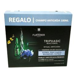 TRIPHASIC REACTIONAL (12 AMPOLLAS x 5ML) + CHAMPÚ ANTICAIDA (100ML) de REGALO!