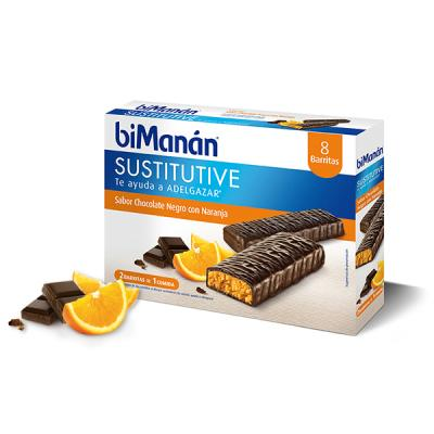 Sustitutive Barritas de Chocolate Negro y Naranja (8uds)