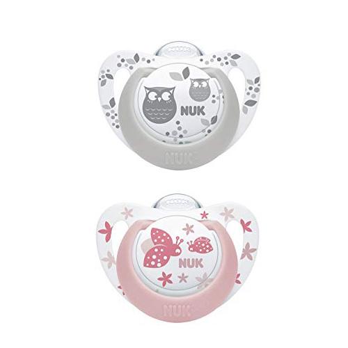 2 chupetes de silicona y 1 cadena para chupete Juego de 2 chupetes con cadena para chupete 6-18 meses color rosa NUK Genius